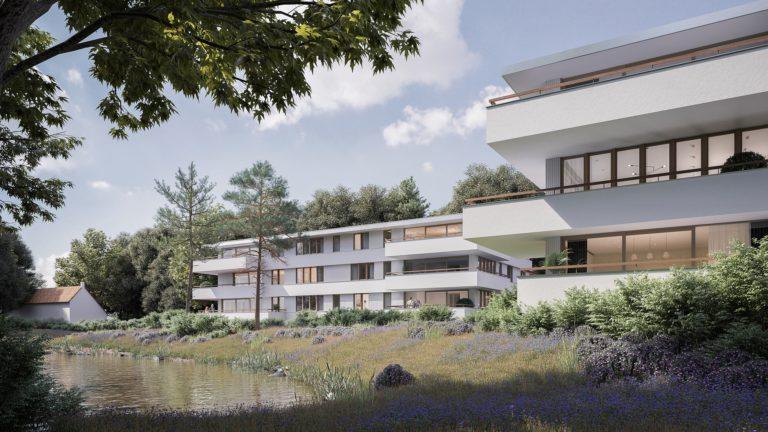3D visualisatie van twee appartementsgebouwen in Nederland
