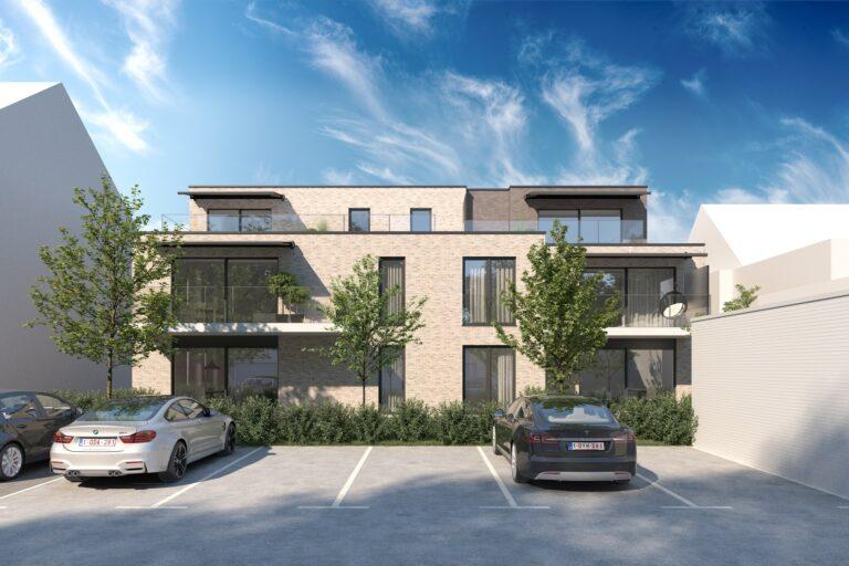 3D visualisatie van een appartementsgebouw in Vlaanderen