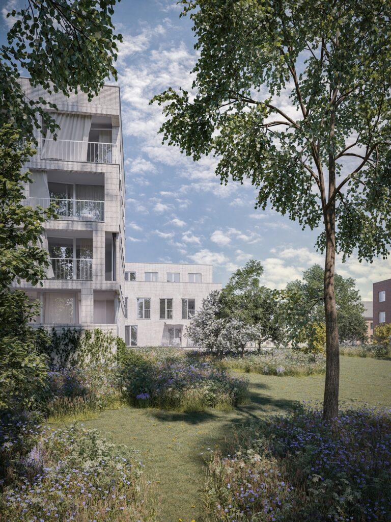 3D visualisatie van een woningcomplex